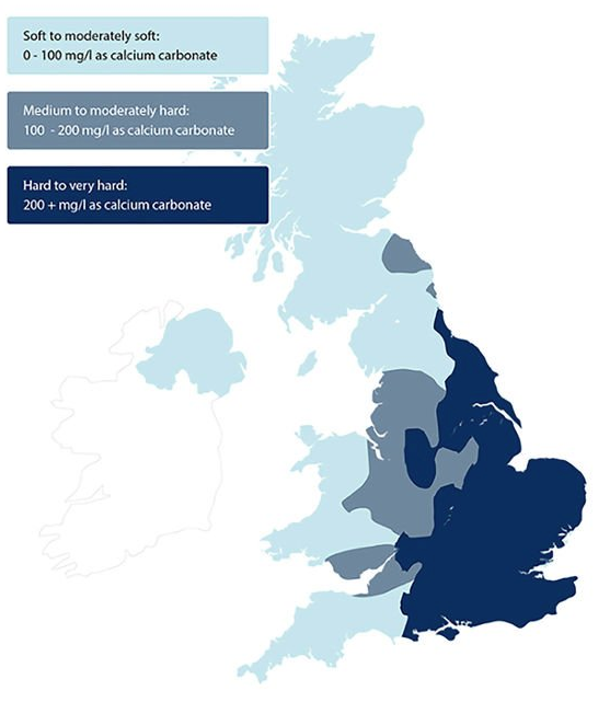 Hard Water Map of the UK