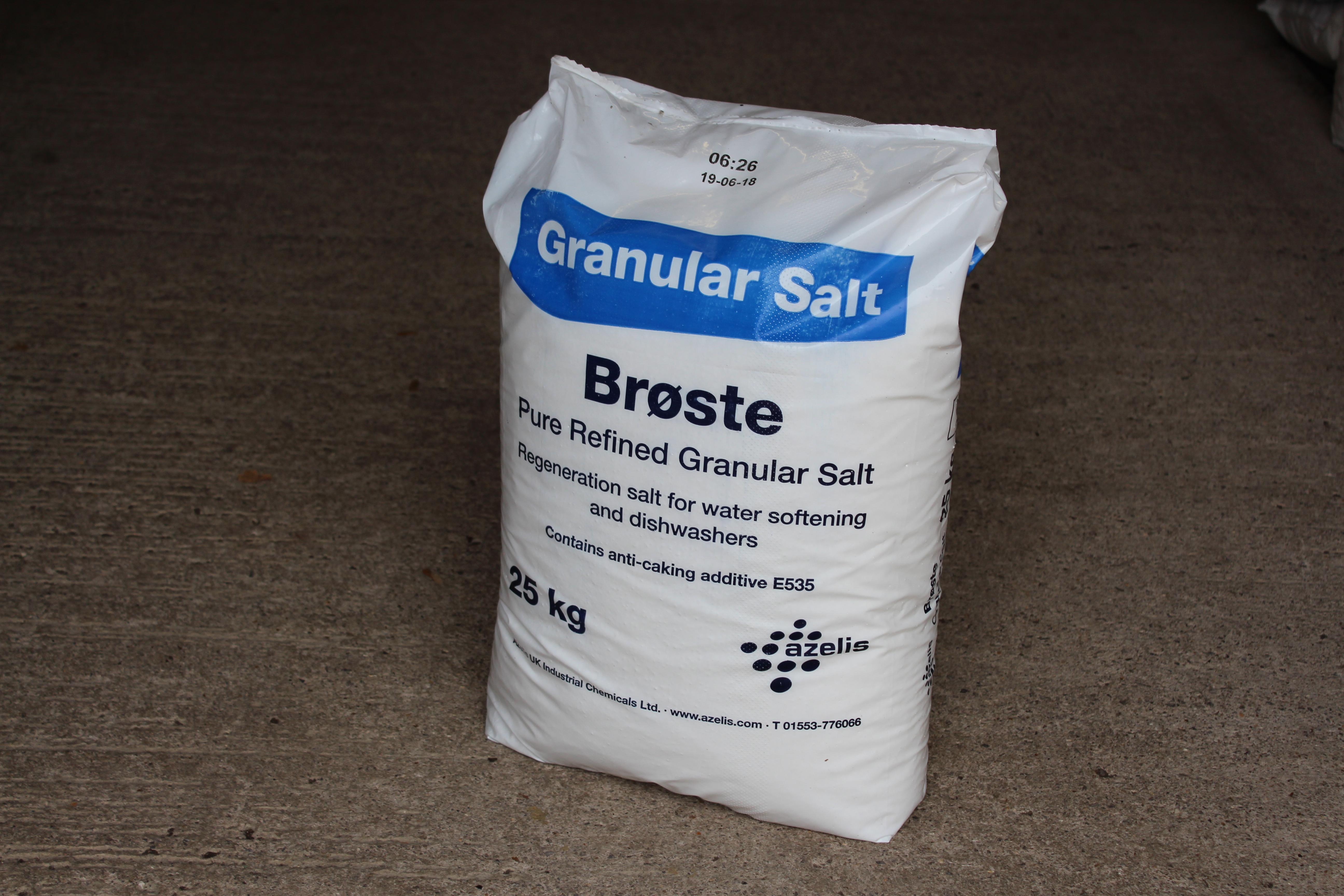 Bag of granular salt for water softeners