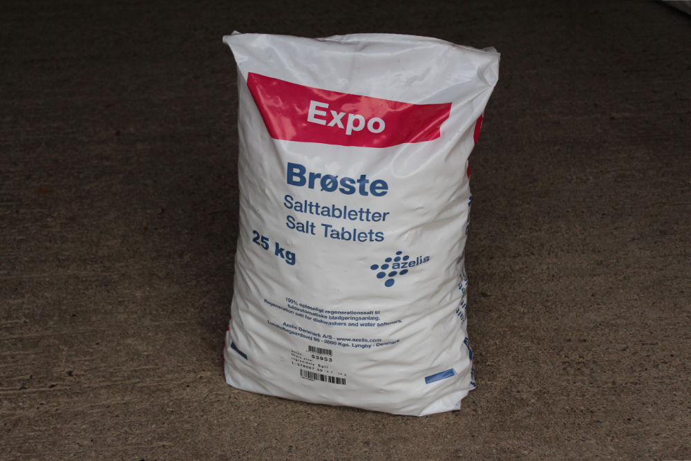 A bag of salt tablets for water softeners